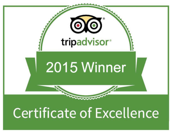 TripAdvisor Certificate of Excellence 2015 Winners